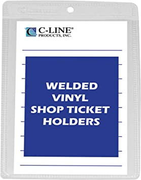 C-Line Shop Ticket Holders Box of 25 Stitched One Side Clear 45114 11 x 14
