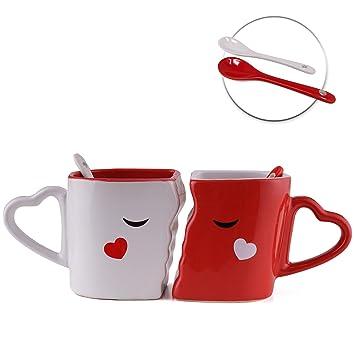Tassen Gesichtertassen – Kaffeetassen Handarbeit Mit Küssende Löffel Geschenk Weiß Set Gesichtamp; Valentinstag Rot Zum In EYWI29HD