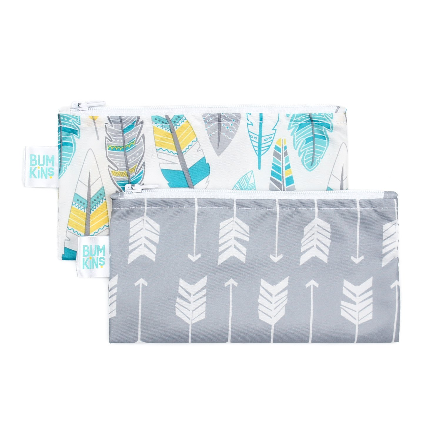 Bumkins Reusable Snack Bag Small 2 Pack, Arrow/Feather SBS2-N12