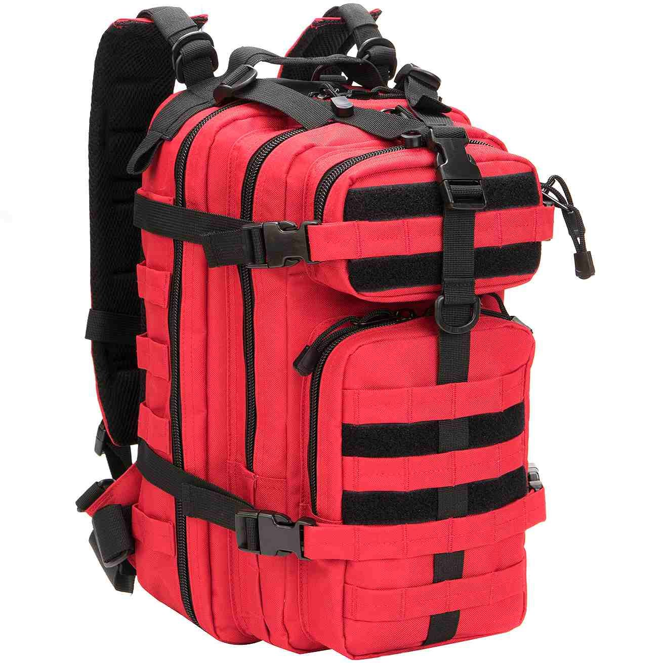Red WolfWarriorX Small Military Tactical Assault Backpack Hiking Bag Extreme Water Resistant Rucksack Molle Bug Out Bag for Traveling, Camping, Trekking & Hiking