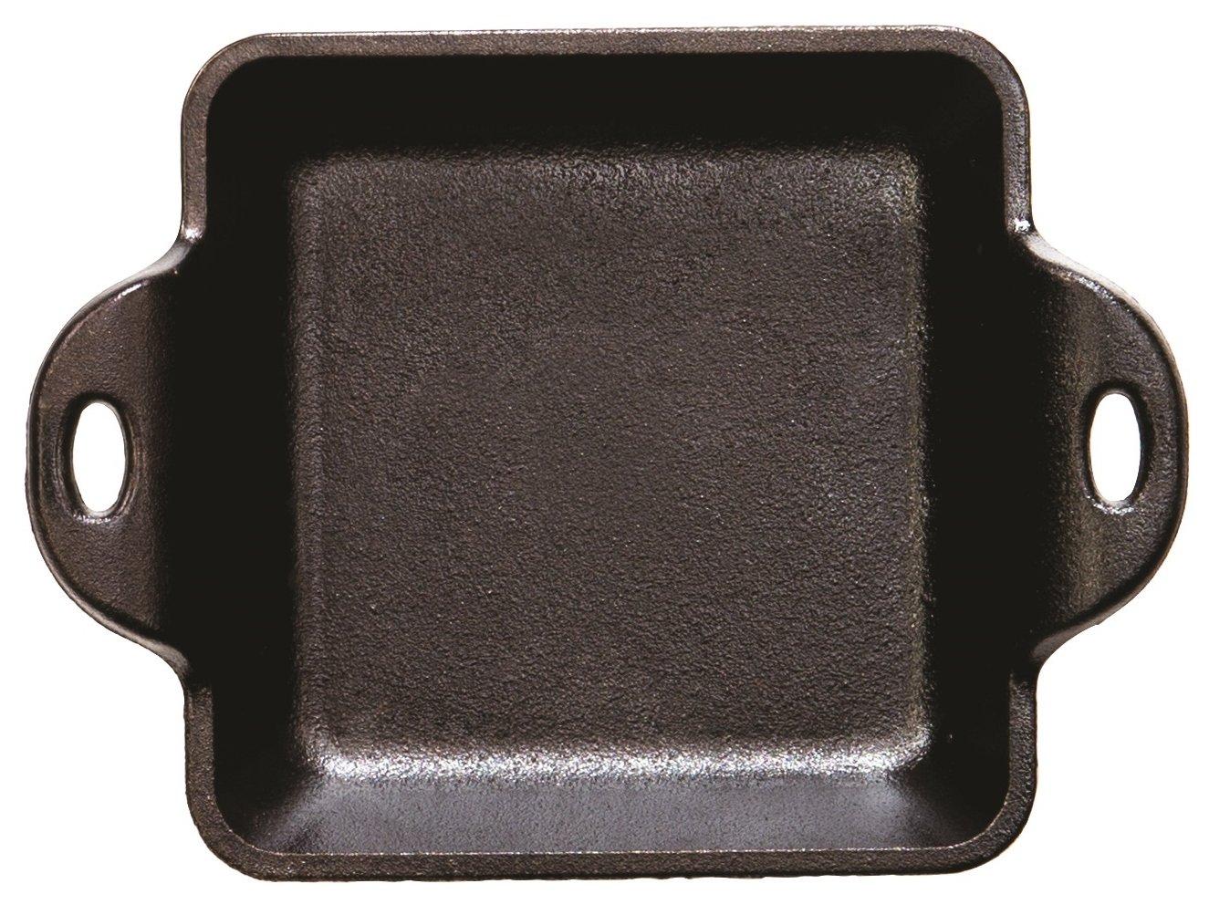 Square 10-Ounce Lodge HMSS Heat Enhanced and Seasoned Cast Iron Mini Server