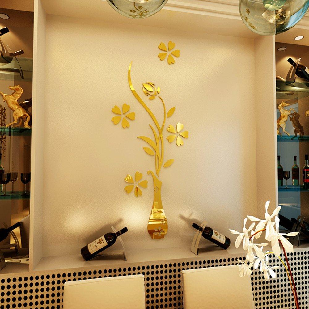 Amazon.com: HEYING Mirror Flower Vase 3D Crystal Acrylic DIY Wall ...