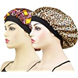 Women's Silk Cap for Sleeping, 100% Silk Sleep Bonnet Night Hat Head Cover for Natural Hair Curly Hair, Peacock Blue Large Size