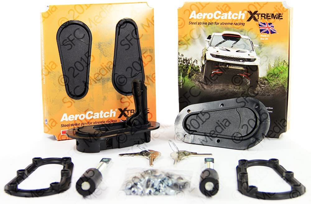 Black AeroCatch Xtreme Plus Flush Locking Hood Latch Kit Part # 120-4100