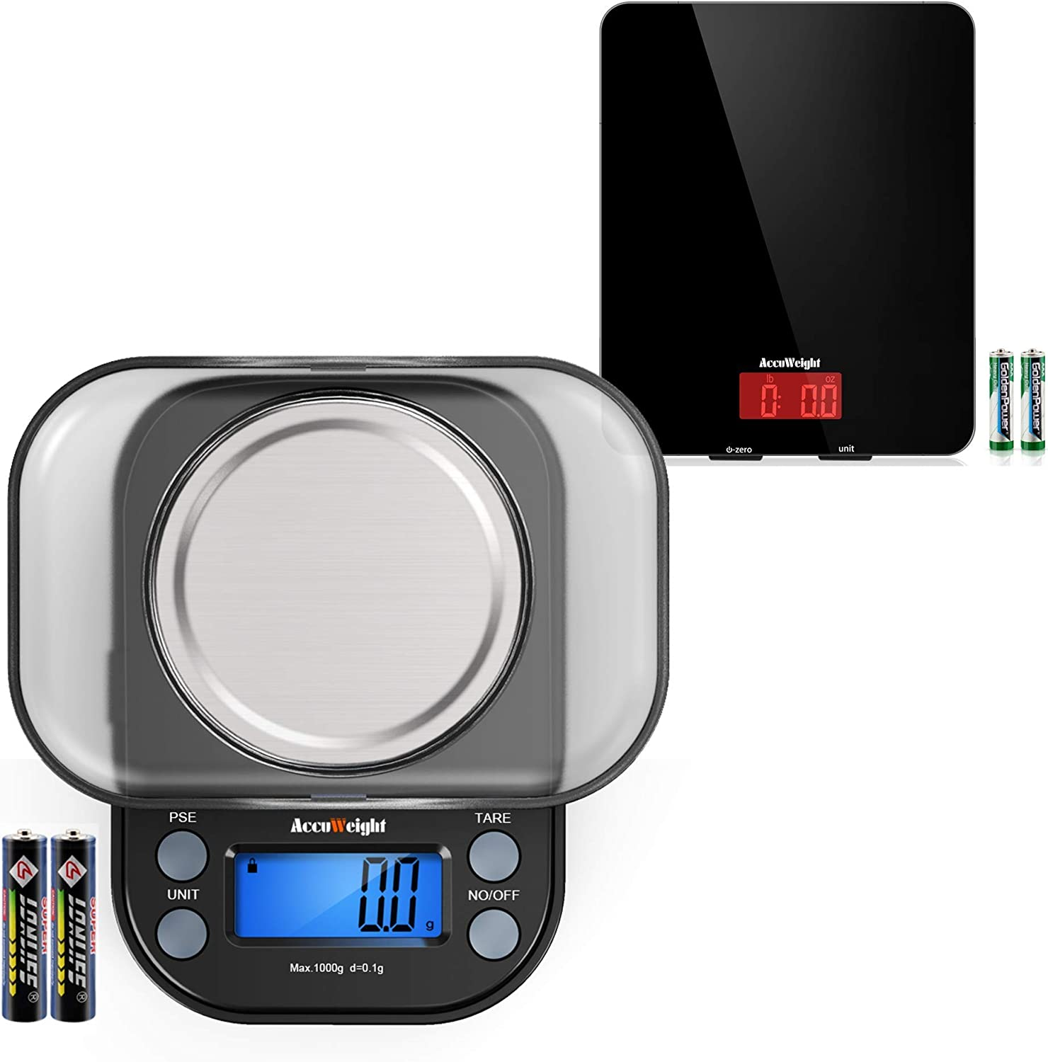 AccuWeight 201 Digital Food Scale+AccuWeight 255B Mini Pocket Gram Scale