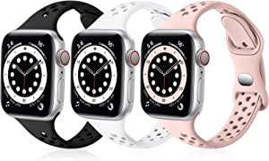 SNBLK Bands Compatible with Apple Watch Bands 38mm 40mm for Women, Breathable Slim Soft Silicone Sport Replacement Band for iWatch SE Series 6 5 4 3 2 1,Black/White/Sand Pink