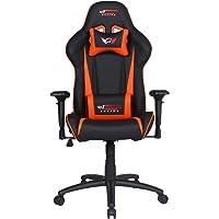 GT Omega Pro Racing Chaise de Bureau en Cuir Noir supérieur Orange