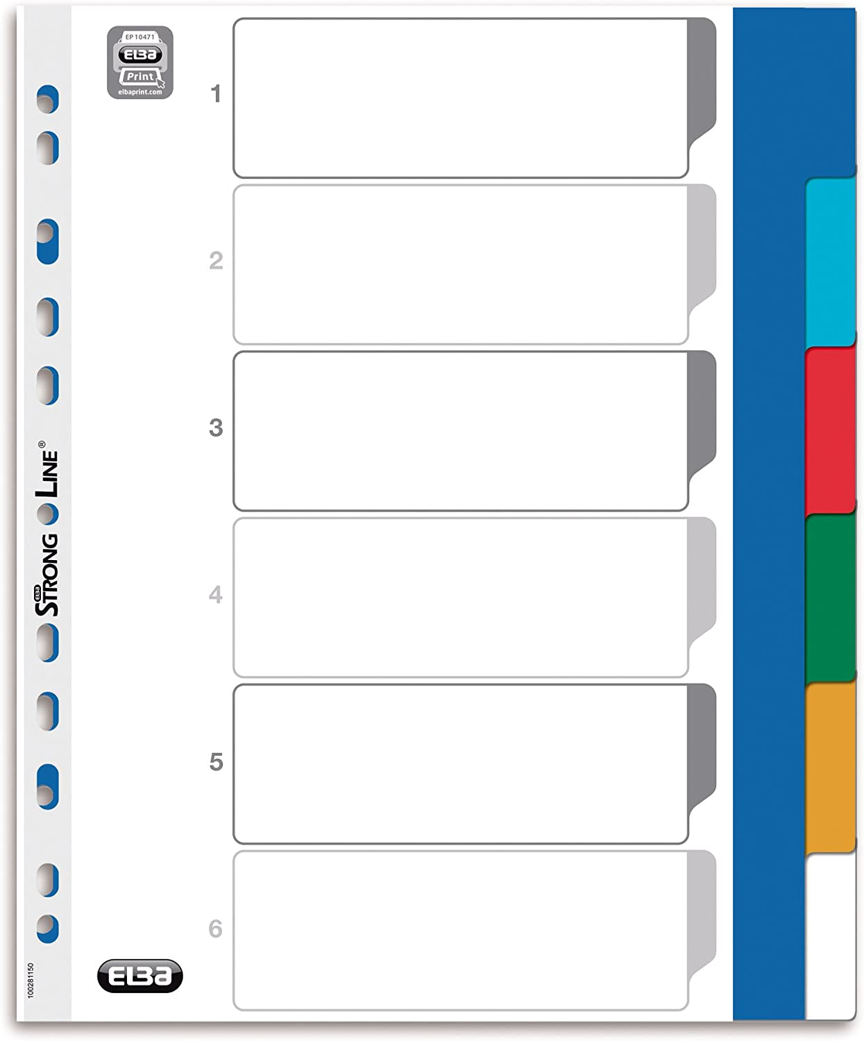 Elba 100204822 File Divider 1-31 31 Pieces Plastic A4 XL Pack of 25 Multi-Coloured