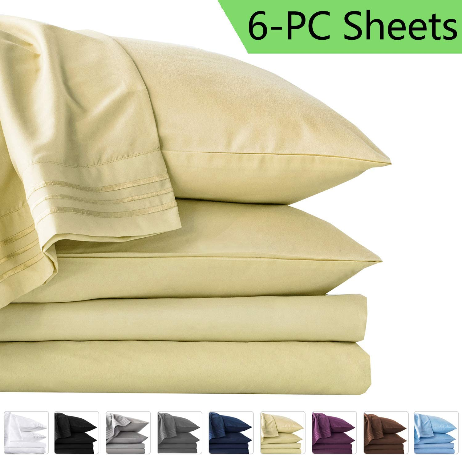 LIANLAM Queen 6 Piece Bed Sheets Set - Super Soft Brushed Microfiber 1800 Thread Count - Breathable Luxury Egyptian Sheets Deep Pocket - Wrinkle and Hypoallergenic(Queen, Ivory)
