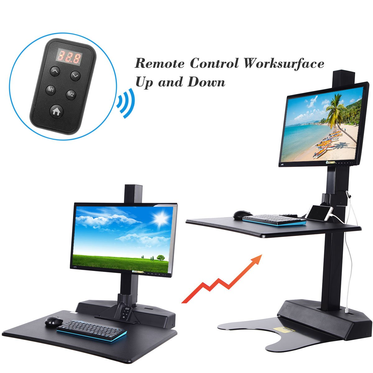 Standing Desk Riser, Freemaxdesk Electric Power Remote Control Height Adjustable Sit to Stand Desk Converter with Monitor Vesa Mount ,Worksuface(26''x21'') by freemaxdesk (Image #3)