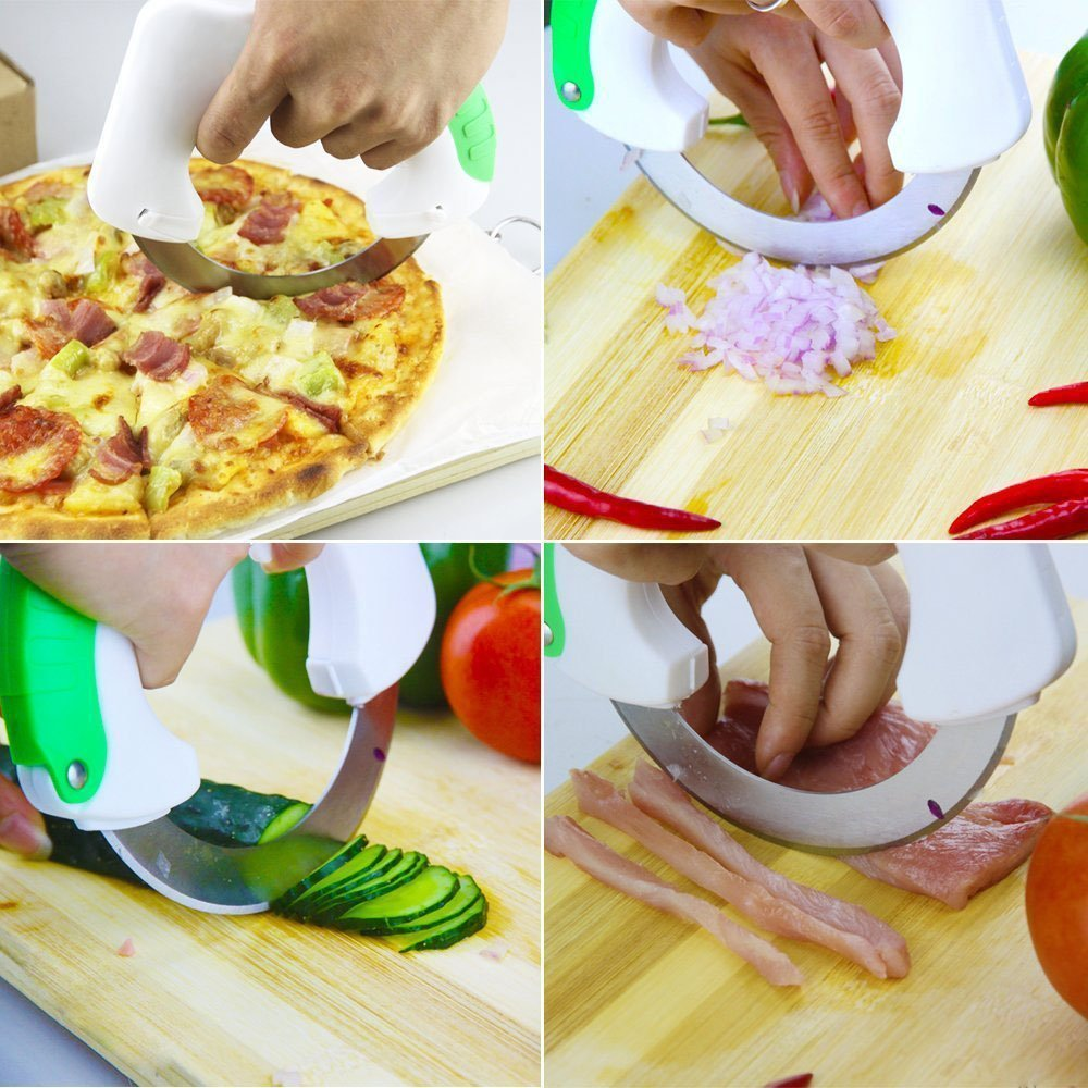 YIWEISI Creative Circular Rolling Knife, Stainless Steel Kitchen Knives, Utility Cooking Tools by YIWEISI (Image #5)