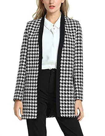 852d851cb5b90 SEBOWEL Women s Casual Jacket Long Sleeve Houndstooth Open Work Office Blazer  Suits at Amazon Women s Clothing store