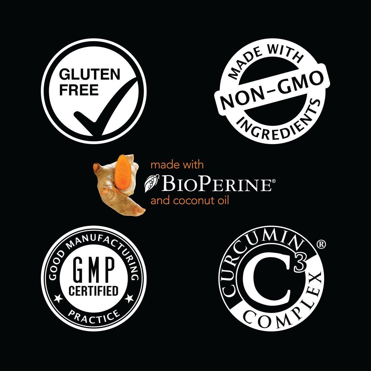 Turmeric Curcumin C3® Complex (500mg) Enhanced with Black Pepper & Organic Coconut Oil for Better Absorption; Non-GMO & Gluten Free (60 Liquid softgels)