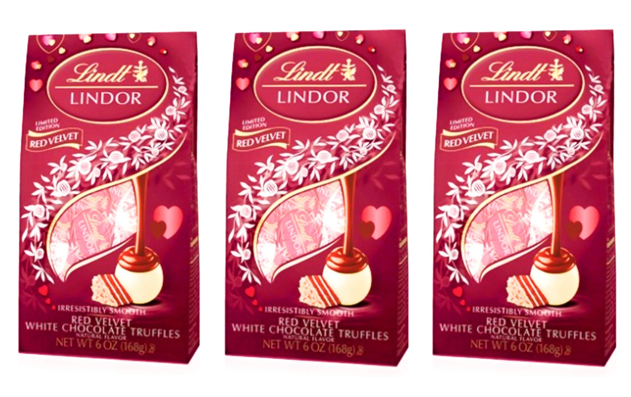 Lindt Lindor Valentines Red Velvet White Chocolate Candy Truffles - Pack of 3 Bags - 6 oz Per Bag (3 Bags, 18 oz Total)