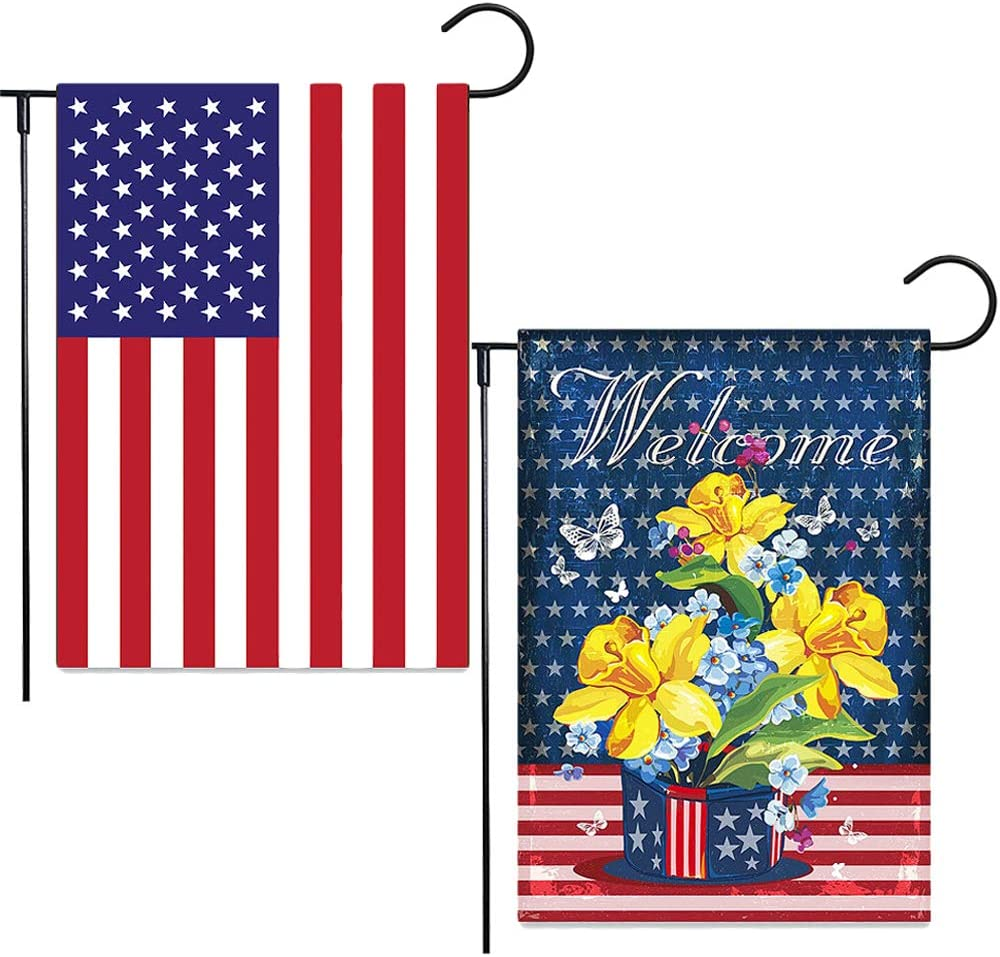 2 Pcs American Garden Flag Welcome Flower USA Flag,12.5 x 18 Inch Outside Decoration Weatherproof Burlap Patriotic American Yard Flag