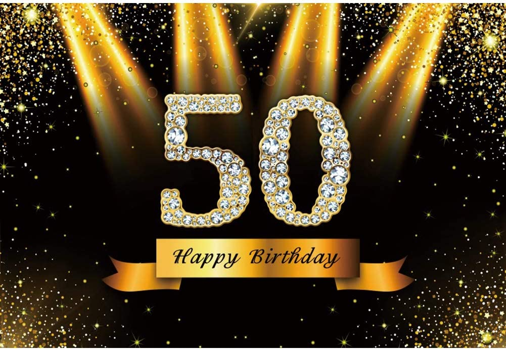 YEELE Diamond 50th Birthday Backdrop 10x8ft Golden Spotlight Sequin Sparkling Fifty Years Old Photography Background Mother Father Birthday Photo Booth Portrait Dessert Table Shoot Digital Wallpaper
