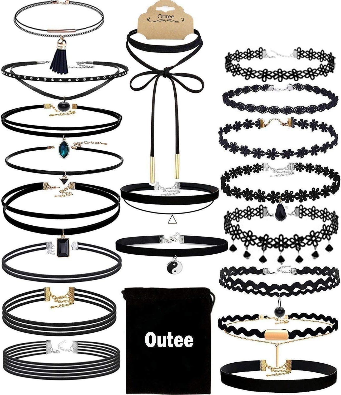 Outee 10 Pieces Black Velvet Choker Necklace Set Lace Choker Chocker Sets