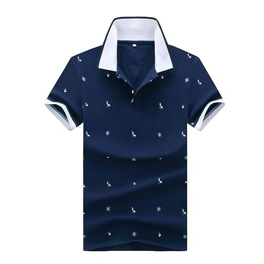 6e1e18afb Fieer Men's Lapel Oversized Curvy Floral Button Down Short-Sleeve T-Shirt  Top Dark
