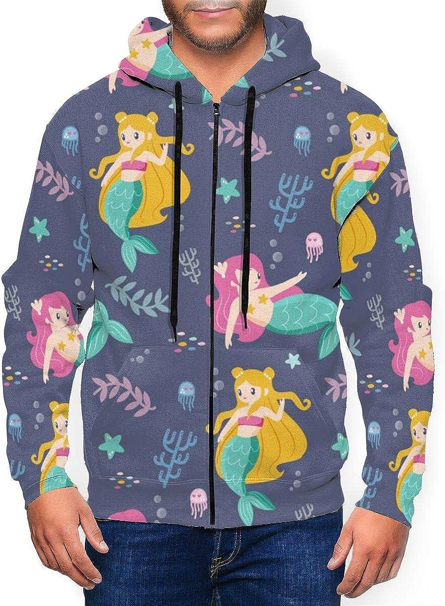 Mens Zipper Hoodies Sweatshirt Long Sleeve Coat with Pockets Hand Drawn Mermaid