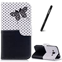 Slynmax Galaxy J3 Case, Samsung Galaxy J3 2016 Phone Case, Flip Folio Wallet Cover Stitching Butterfly Embossed Design