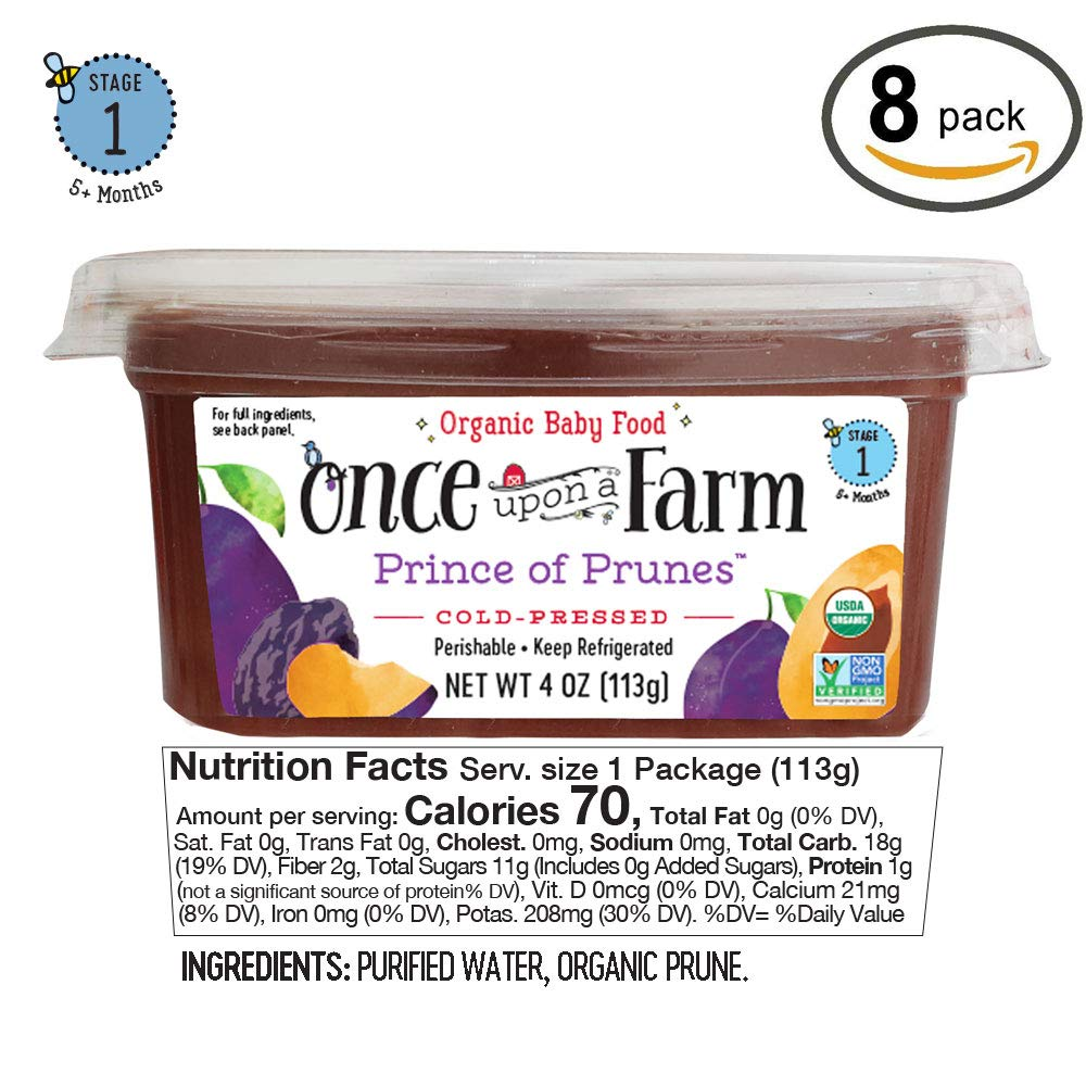 Once Upon A Farm Organic Stage 1 | Baby Food Prince of Prunes Cups | Cold  Pressed |
