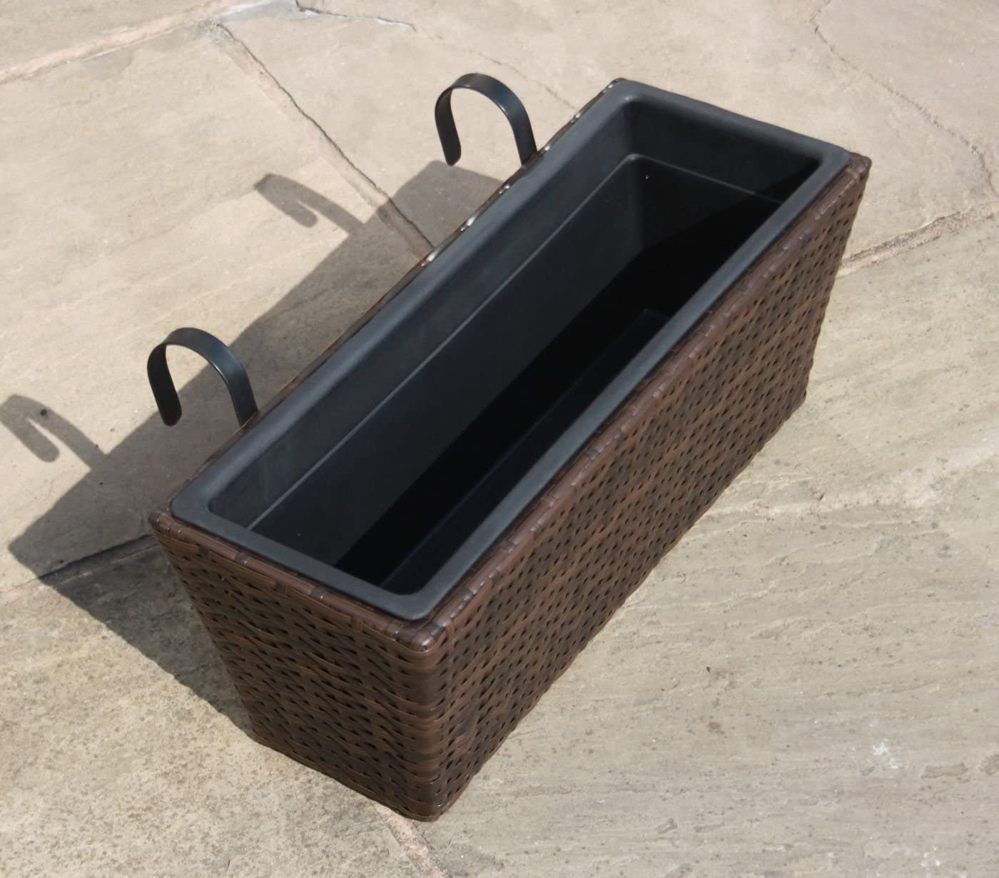 Anthracite Finish Gartenfreude 4000-1009-001 80 19 xcm Resin Wicker Balcony Box with Watering System includes Mounting