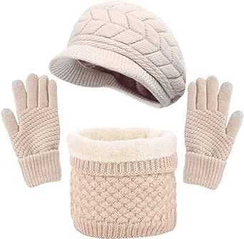 CheChury Gorras Invierno con Bufanda y Guantes Mujer Moda Calentar Sombreros Gorras de Punto Forro de Lana Guantes Táctiles Deportes de Invierno