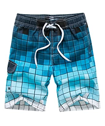 55dd766f5e Satankud Men's Plaid Swim Trunks Quick Dry Bathing Suits Boardshorts with  Lining Blue ...