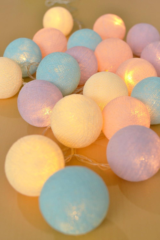 Bolas de algodón Light 20 Bolas de algodón LED con batería Bodas y ...