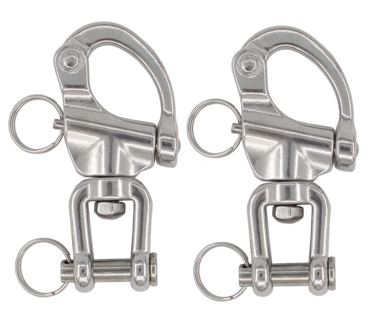 MOTOKU 2PCS 2PCS 2-3/4'' Jaw Swivel Snap Shackle 316 Stainless Steel for Sailboat Halyard