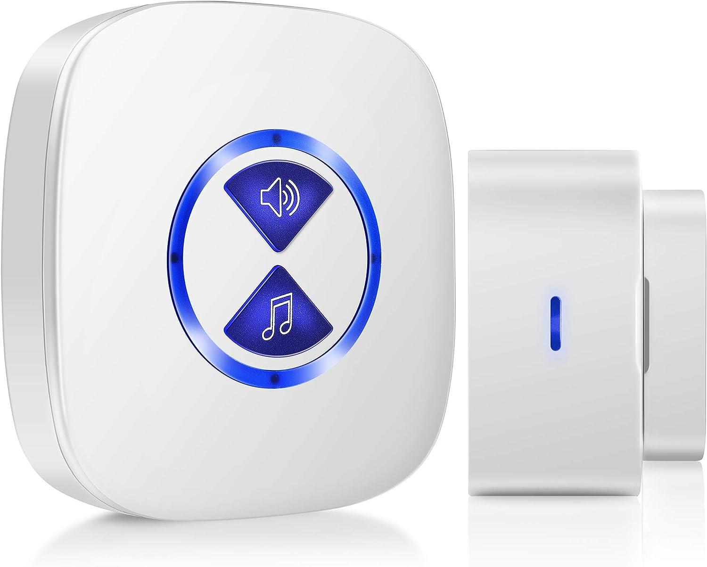 Wireless Door Chime, Security Door Open Sensor, Door Entry Alert for Home, Office & Store (500ft Operating Range, 52 Chimes, 4 Volume Levels)