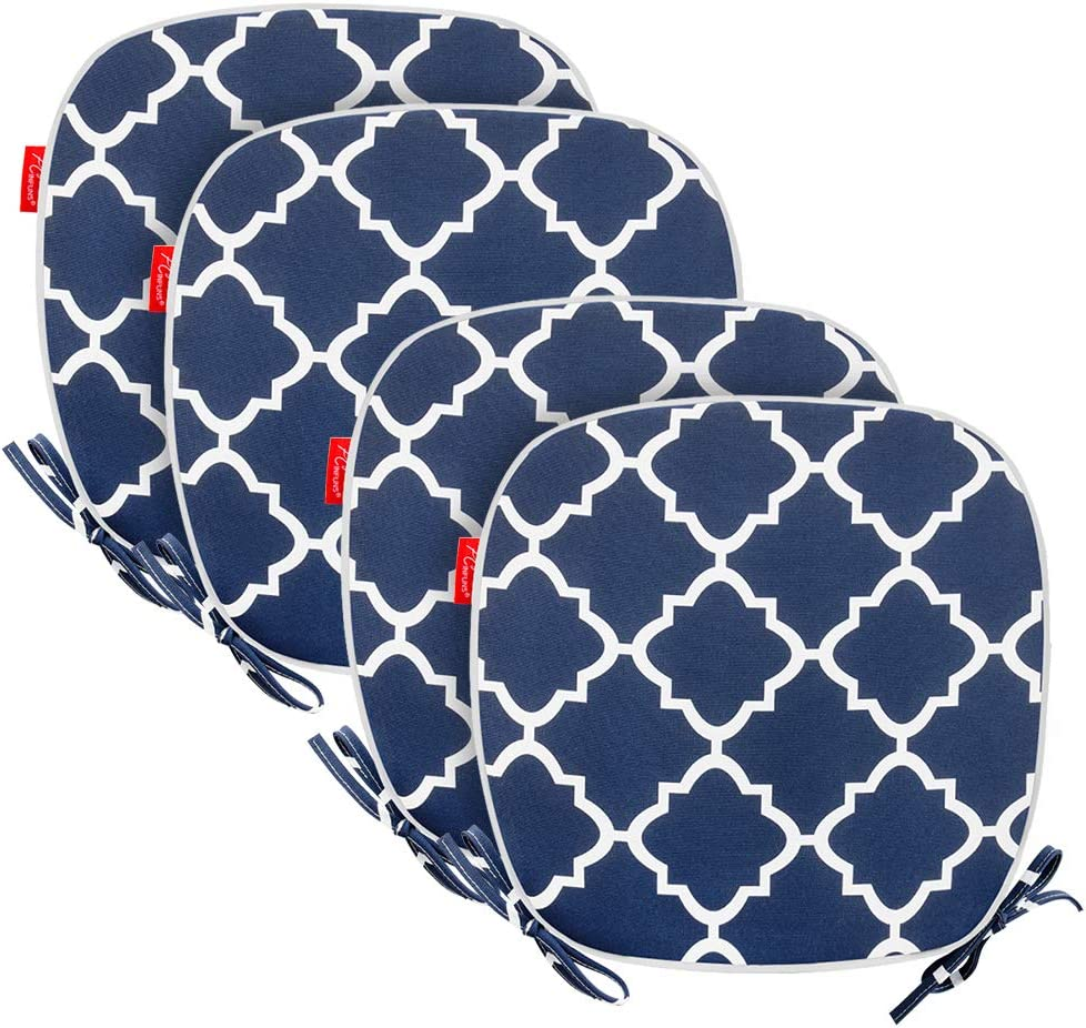 Pcinfuns Outdoor Chair Cushions,Seat Pads with Ties,Patio Chair Pads 16x17 Inch for Home Office Patio Furniture Garden Decoration,Set of 4(Navy Blue)