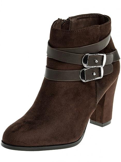 CASPAR Fashion - Botas de tela para mujer Marrón marrón oscuro: Amazon.es: Zapatos y complementos