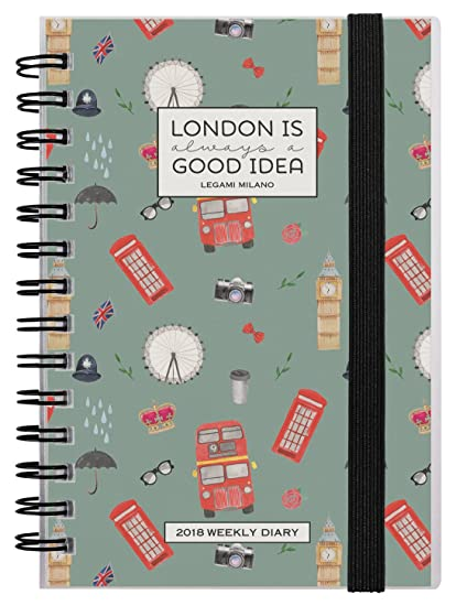 Legami AG121836 - Agenda 2018 espiral semanal, 12 meses, diseño London