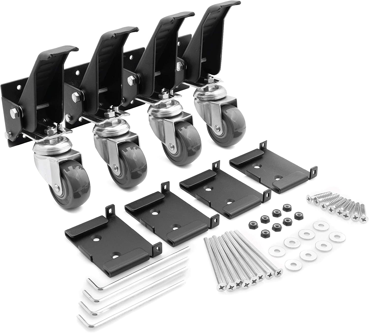 Workbench Caster kit 4 Heavy Duty Retractable Casters with 4 Pin Lock Quick Release Mounting Plates to Quickly Attach/Remove or Switch Casters from a Workbench to a Cabinet, Stand or a Machine.