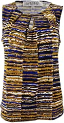 Kasper Womens Large Striped Pleated Neck Blouse