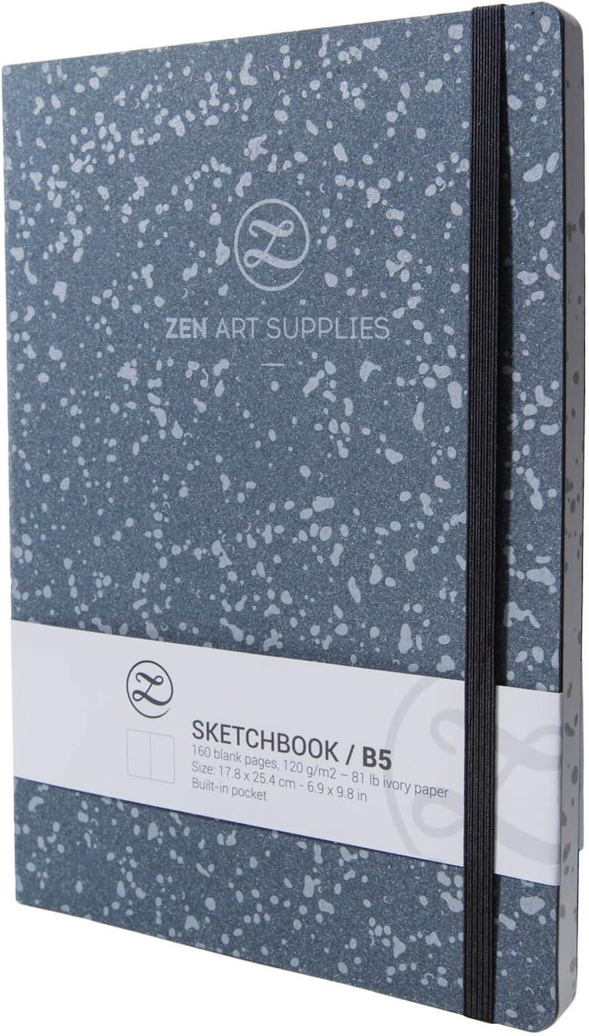 2 segnalibri e Fascia Elastica Copertina in Pelle Resistente Tasca Interna 160 Pagine Bianche in Carta Avorio Liscia 120 gsm Senza acidi 18 x 24 cm ZenART Blocco per Schizzi B5