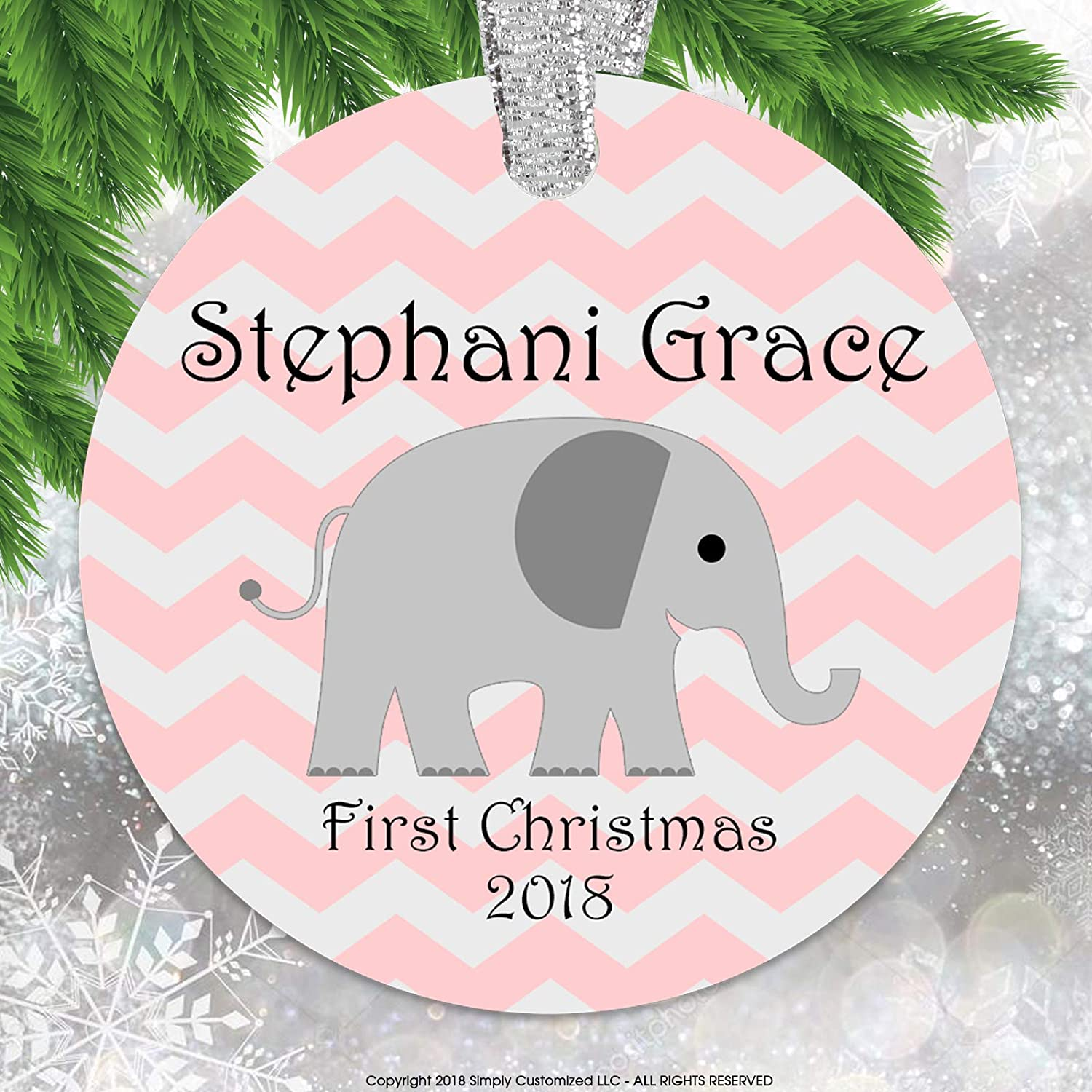 Simply Customized Baby's First Christmas Ornament - Personalized Ornament Elephant Chevrons Baby Girl Pink Keepsake Ornament Double Sided Aluminum Rust Free Never Break Bend Crack