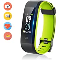 Smart Fitness Band, HolyHigh 115C Fitness Tracker Watch with Heart Rate Weather Monitor Sport Activity Tracker Band with Step Counter Sleep Monitor Call SMS Notifications for Men Women (Black Green)
