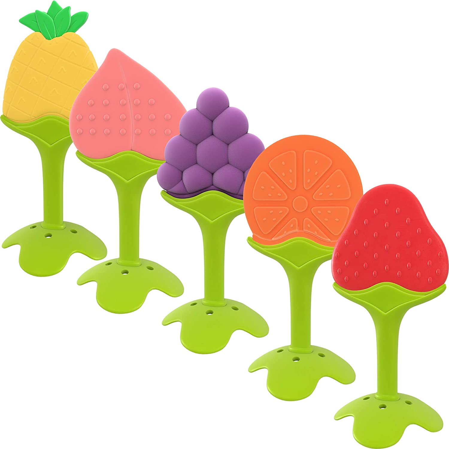 Giggles Haven Fruit Shape Teething Toys (5 Pack)