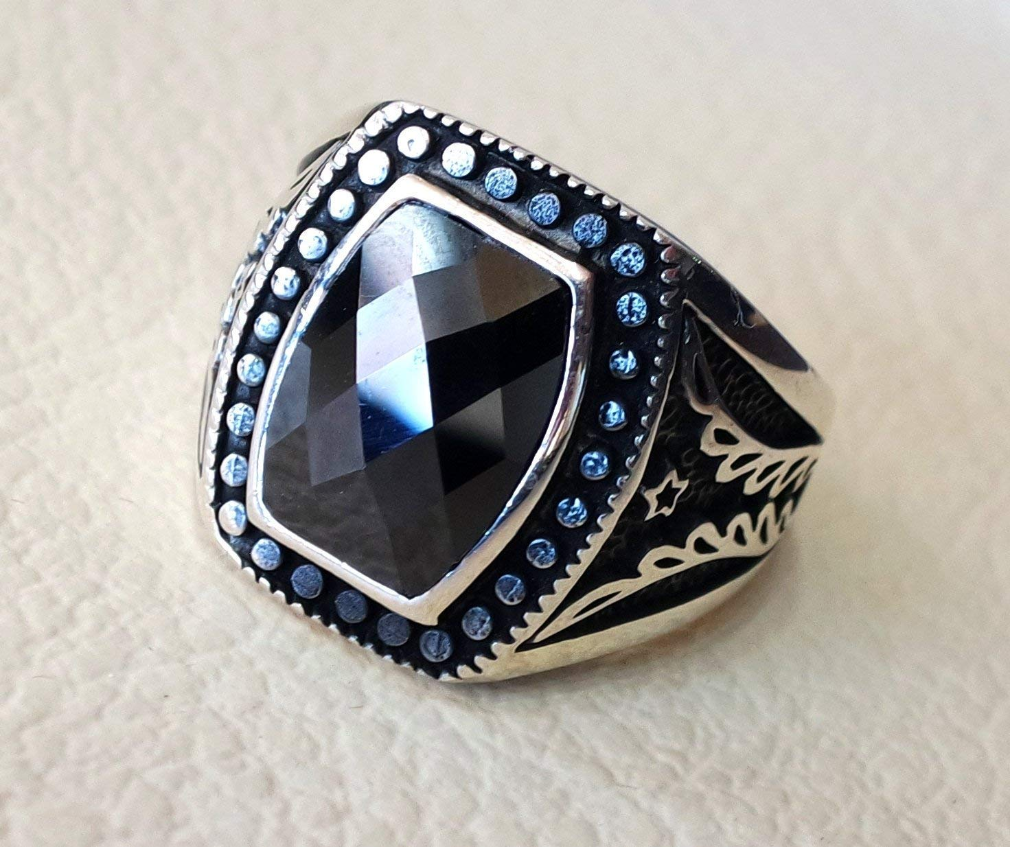 Handmade 925 Sterling Silver Men/'s Ring With Natural Onyx Stone