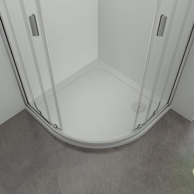 Mampara Semicircular Cabina de Ducha Puerta Corredera Gris Mate Vidrio Templado 5 mm 76x76x185cm: Amazon.es: Bricolaje y herramientas