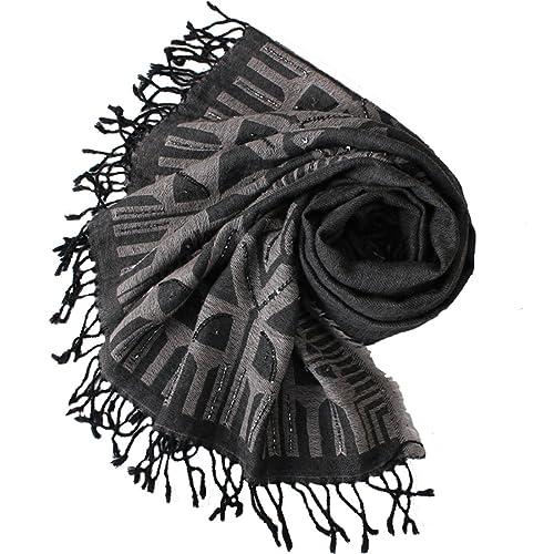 POKWAI Bufanda Manta Caliente Con Estilo De Las Mujeres Gorgeous Wrap Chal Jacquard Bordado Negro,Bl...