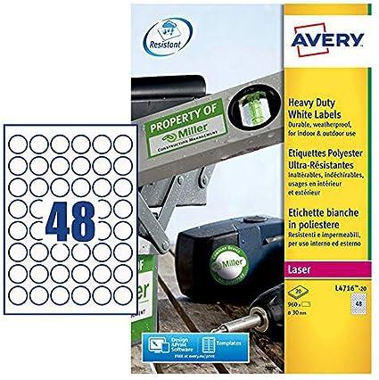 Bianco 20 Fogli Avery L4774-20 Etichette in Poliestere 4 Etichette per Foglio 99.1 x 139