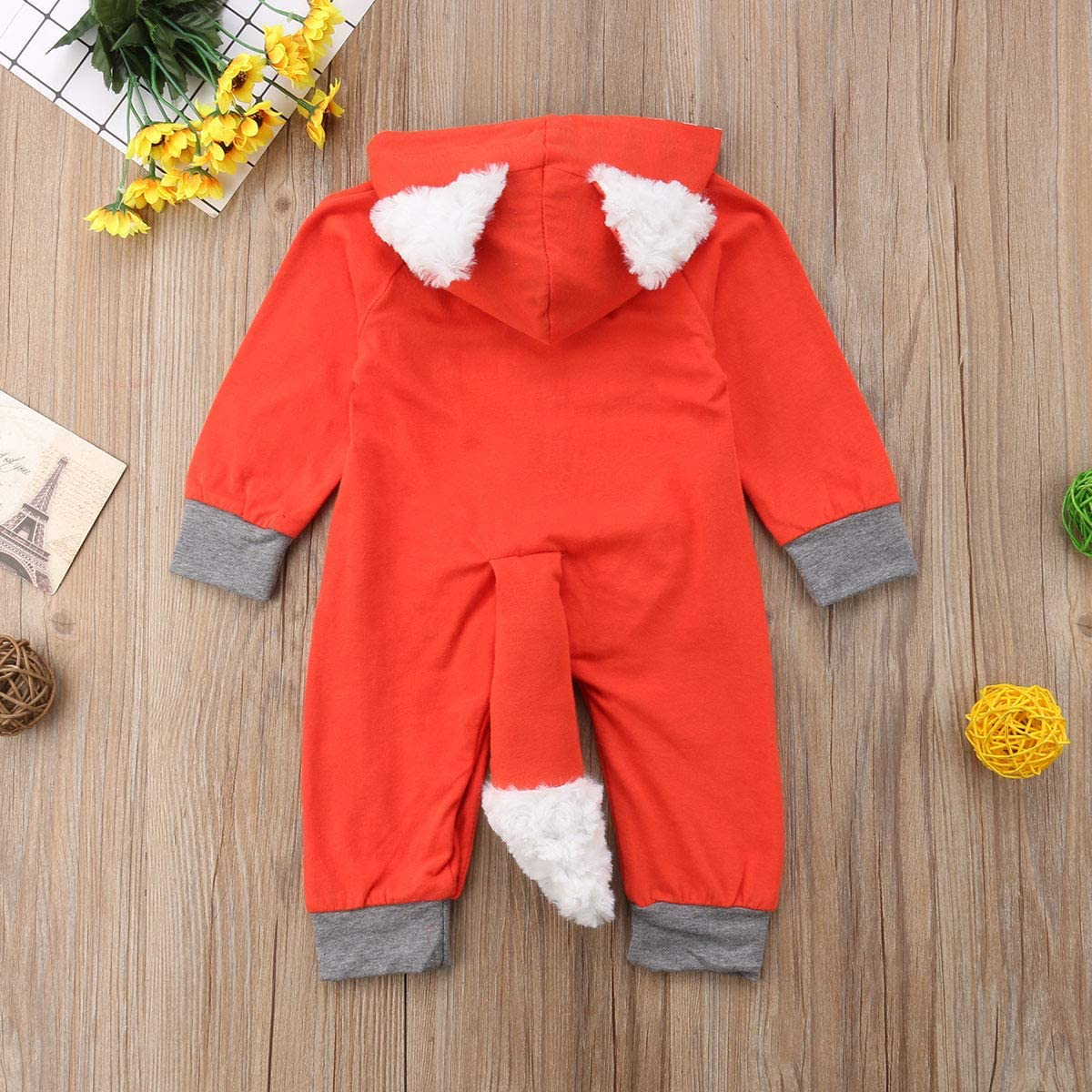 Lamuusaa Newborn Toddler Baby Girl//Boy Halloween Clothes Fox Long Sleeve Jumpsuit Bodysuit Hooded Romper Fall Winter Outfit