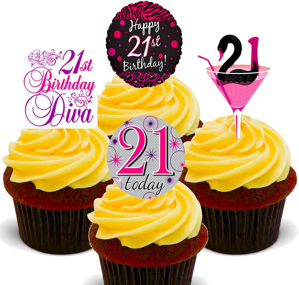 Made4you 21st Birthday Female Edible Cupcake Toppers Stand Up Wafer Cake Decorations Pack Of 12 Amazon Co Uk Kitchen Home