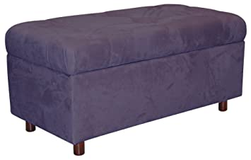 Belden Tufted Storage Bench By Skyline Furniture In Purple Micro Suede