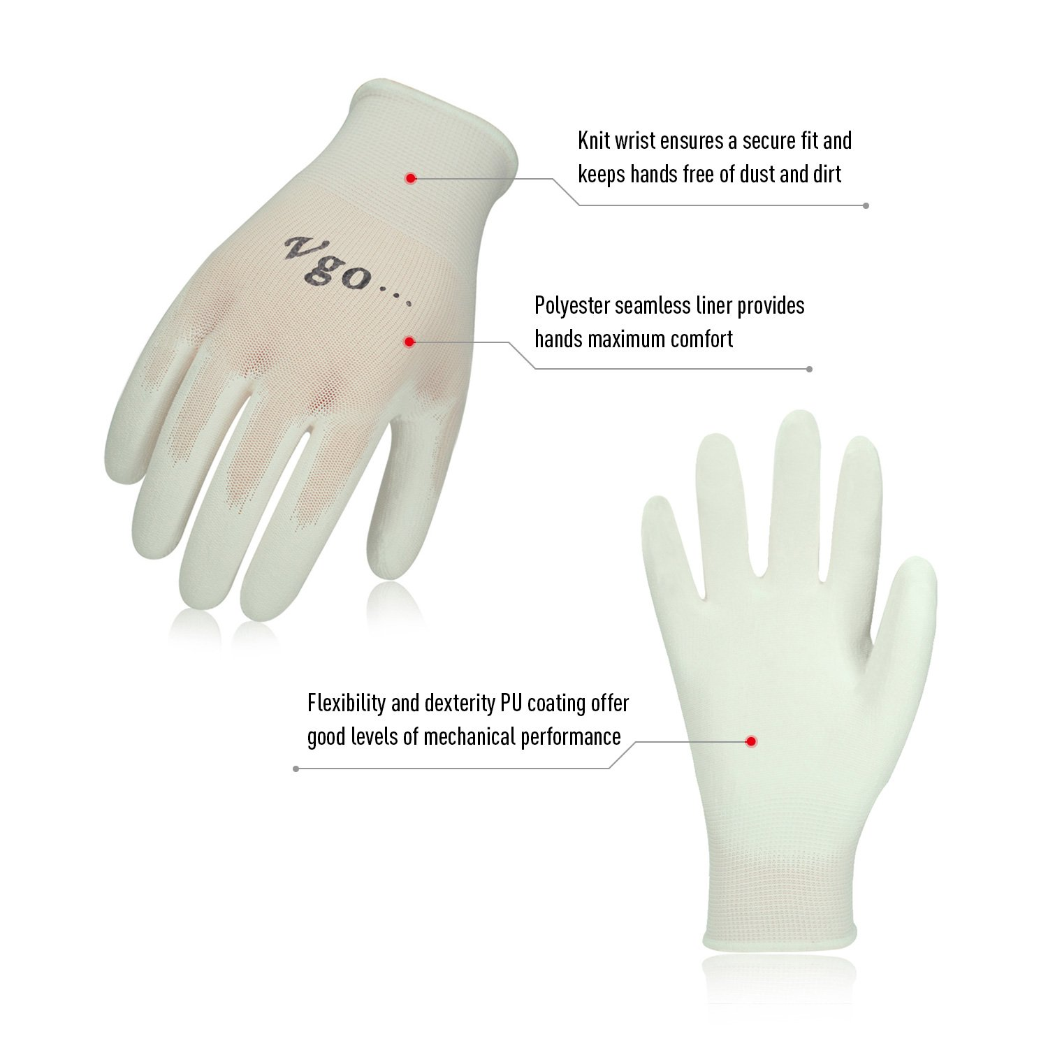Vgo 15Pairs PU Coated Gardening and Work Gloves Size L,White,PU2103