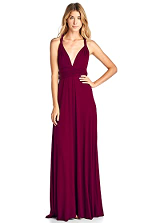 2d3ded326b8d 12 Ami Solid Convertible Multi Way Long T-Shirt Maxi Dress Burgundy Small