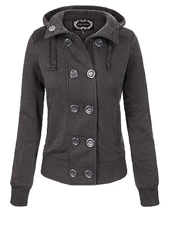 fae11731ab Instar Mode Women s Casual Double Breasted Hooded Fleece Pea Coat Jacket  (S-3X)